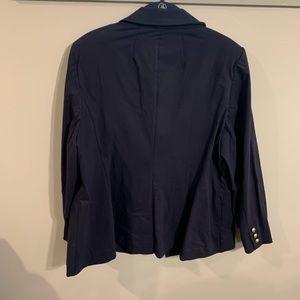 Navy blue button down blazer.